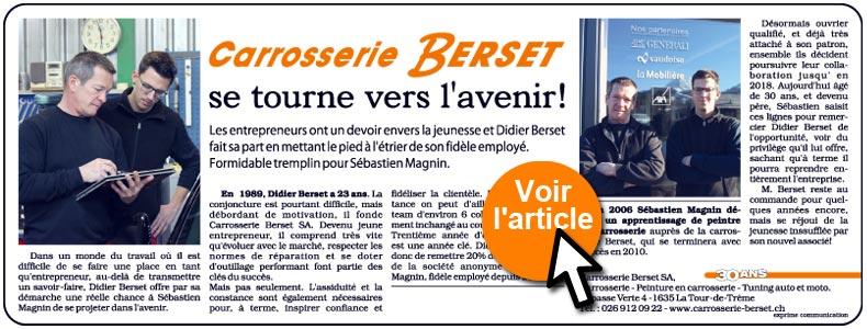 Carrosserie Berset se tourne vers l'avenir. Didier Berset et Sébastien Magnin
